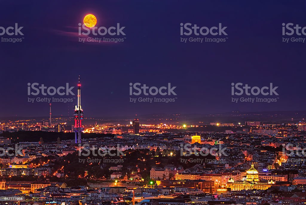 Amazing Old Town night view, Prague, Czech republic stock photo