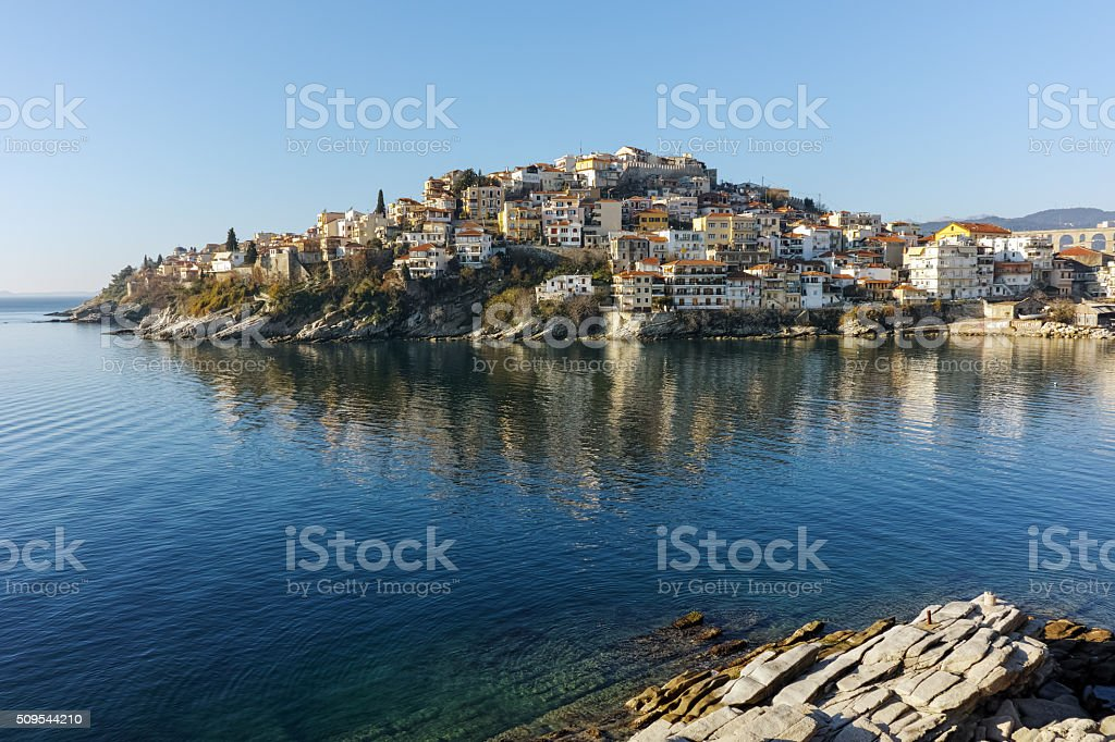 Amazing Panorama of aqueduct and old Old town of Kavala, Greece stock photo