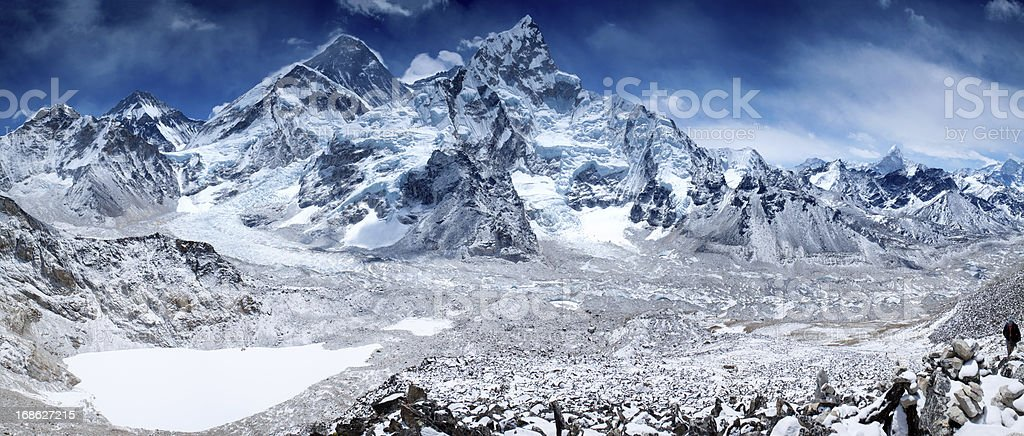 Amazing panorama of Himalayas mountain range on beautiful sunny day royalty-free stock photo