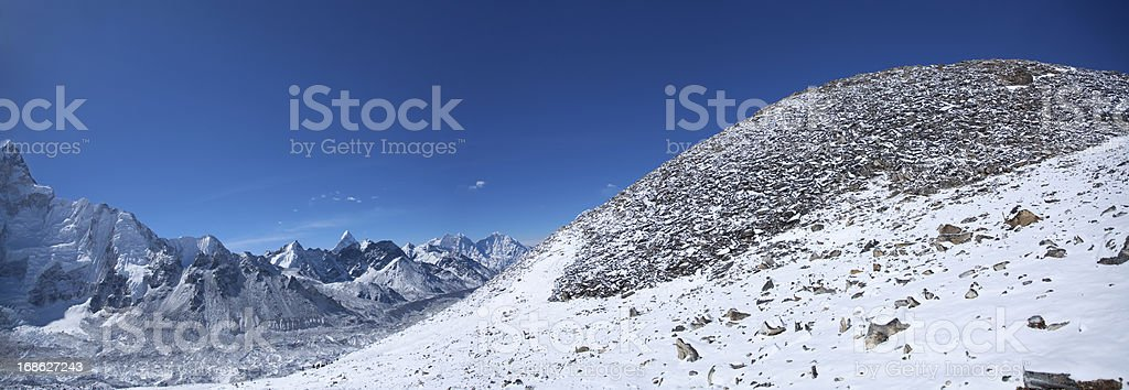Amazing panorama of Himalayas mountain range on beautiful sunny day royalty-free stock photo