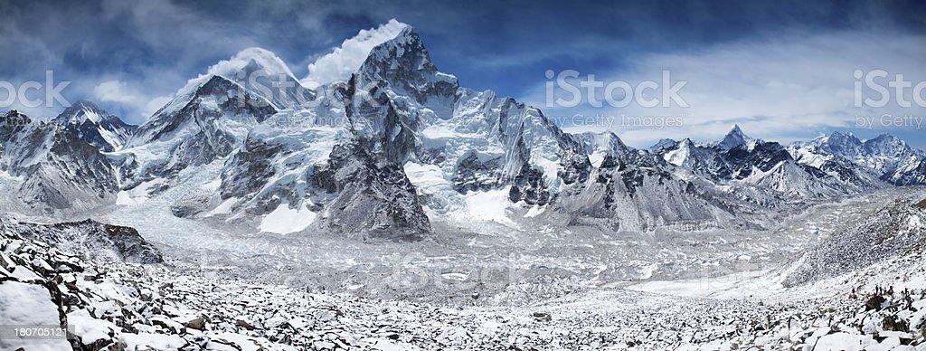 Amazing panorama of Himalayas mountain range on beautiful sunny day stock photo