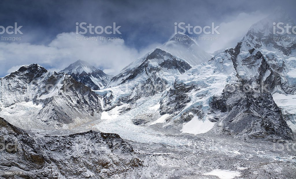 Amazing panorama of Himalayas mountain range on partly cloudy day stock photo