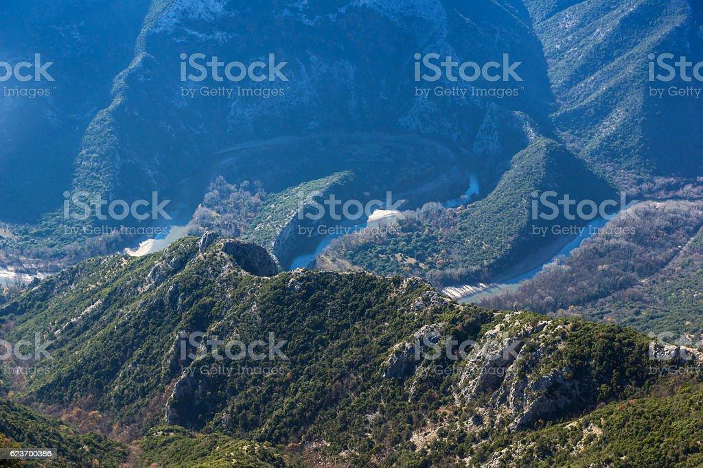 Amazing Panorama of Nestos Gorge near town of Xanthi, Greece stock photo