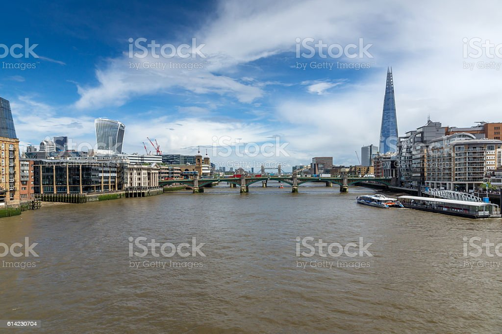 Amazing Panorama of Thames river and City of London stock photo