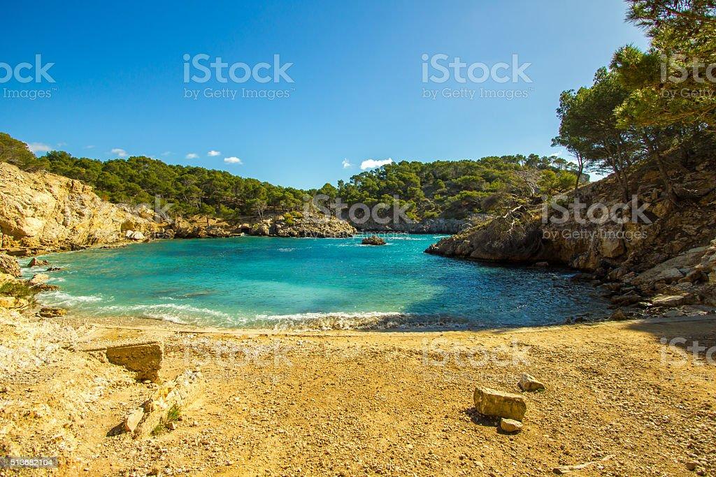 Amazing panoramic view Cala Fornells turquoise mediterranean Majorca Palma Mallorca stock photo