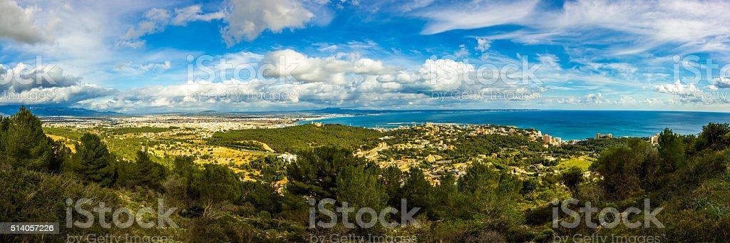Amazing panoramic view Na Burguesa mediterranean Majorca Palma Mallorca Spain stock photo