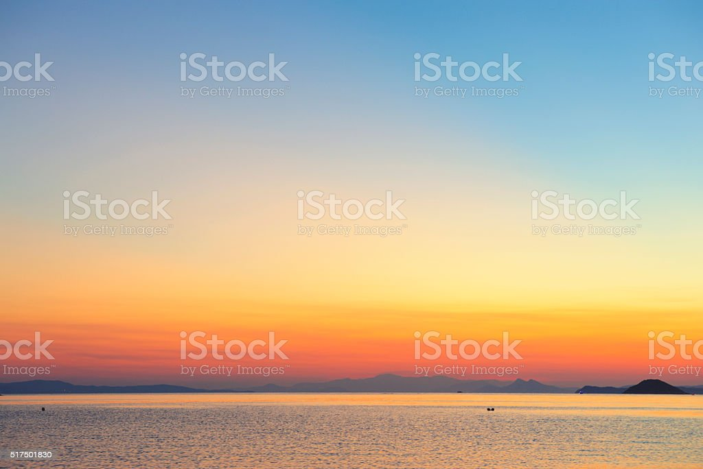 Amazing Panormos bay sunset Skopelos stock photo