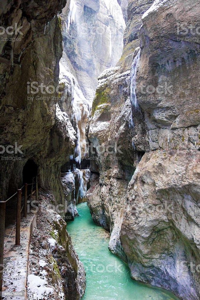 Amazing Partnachklamm in Garmisch-Partenkirchen, Germany stock photo