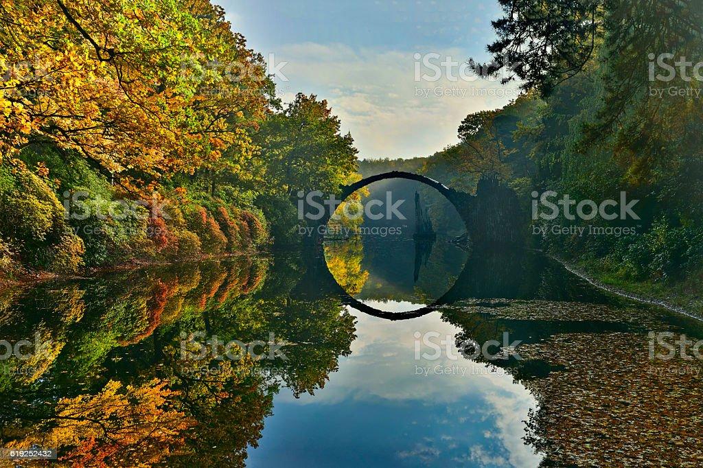 Amazing place in Germany - Rakotzbrucke stock photo