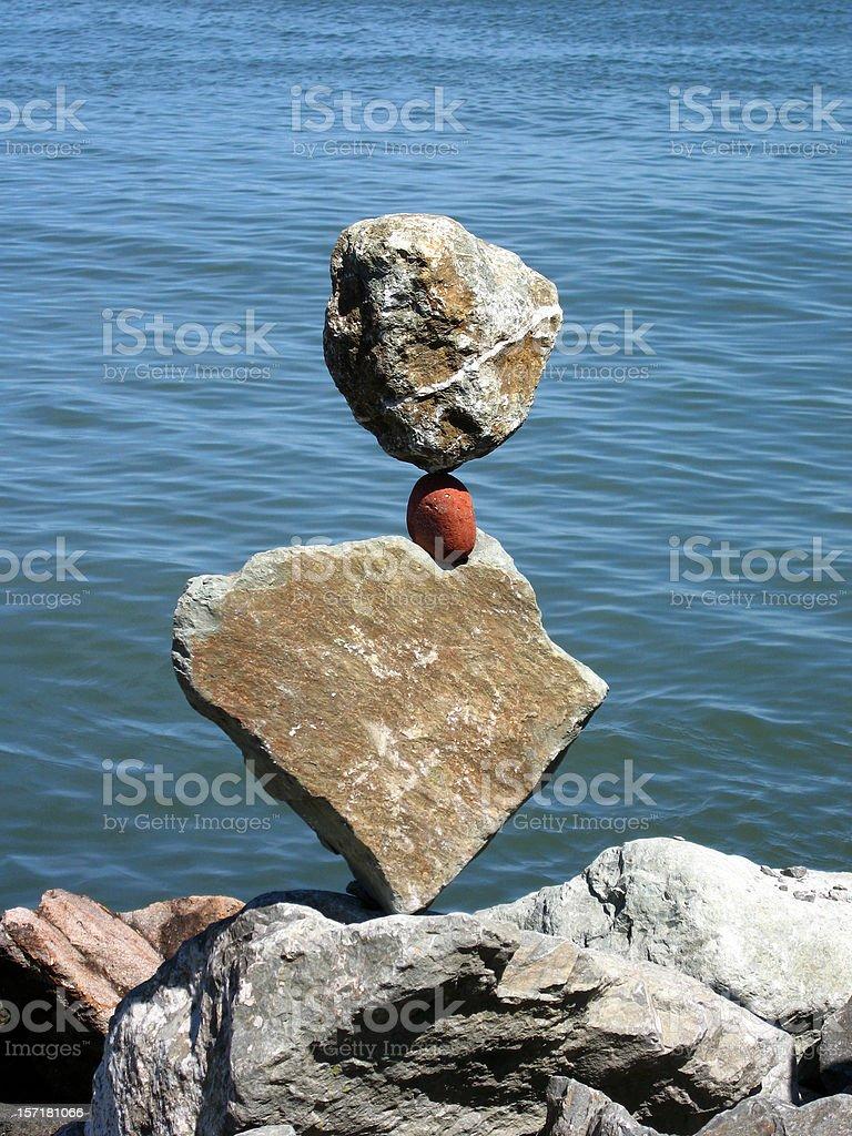 Amazing Rocks Balanced in Sausalito - Inukshuk royalty-free stock photo