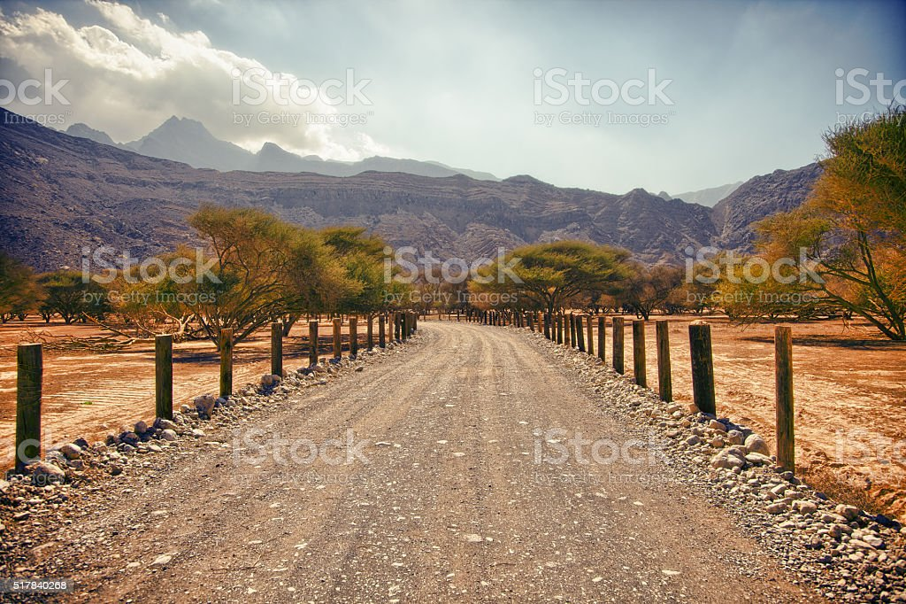 Amazing scenery in Musandam peninsula, Oman stock photo