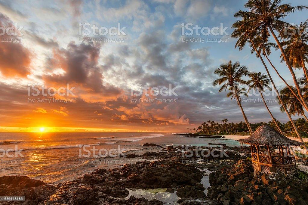 Amazing seascape at sunset in Samoa stock photo