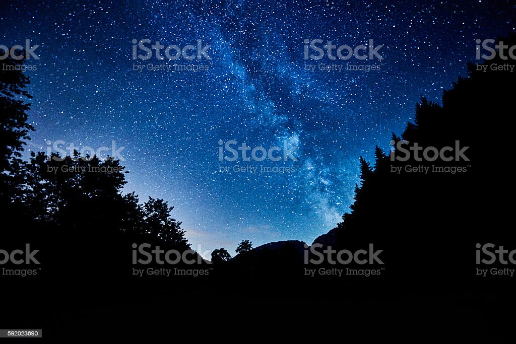 amazing sky full of stars stock photo