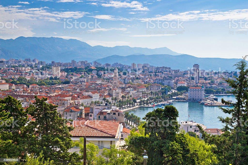 Amazing Split waterfront aerial view stock photo