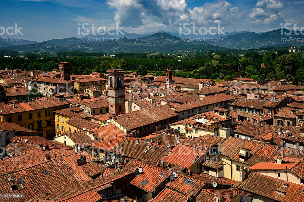 Amazing sunny view of Lucca, Italy stock photo
