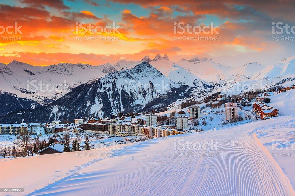Amazing sunrise and winter landscape,Les Sybelles,France,Europe stock photo