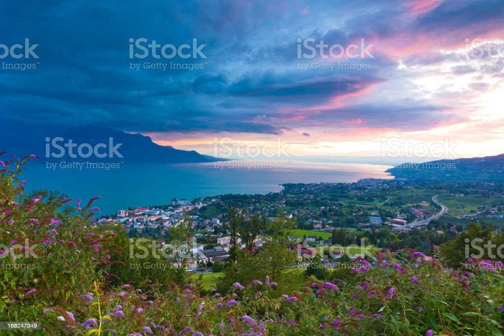 amazing sunrise of Montreux and Lausanne city stock photo