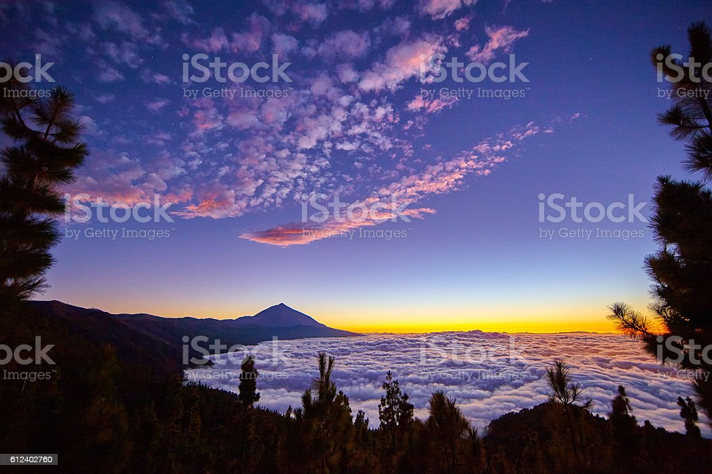 Amazing sunset in Tenrife stock photo