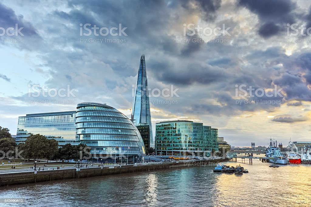 Amazing sunset over London City Hall, Great Britain stock photo