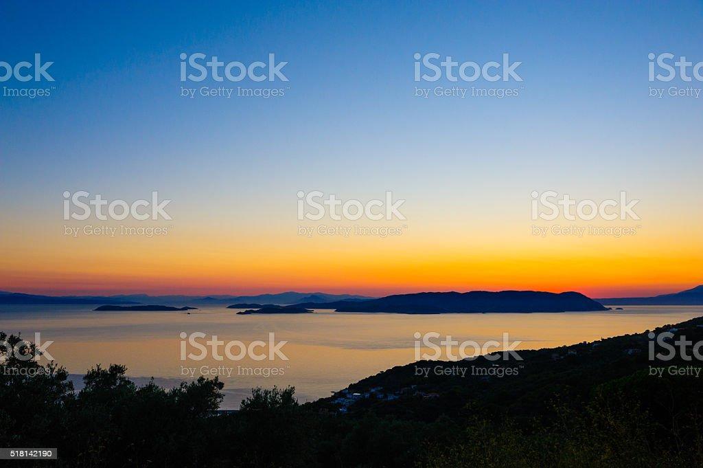 Amazing sunset over Skiathos stock photo