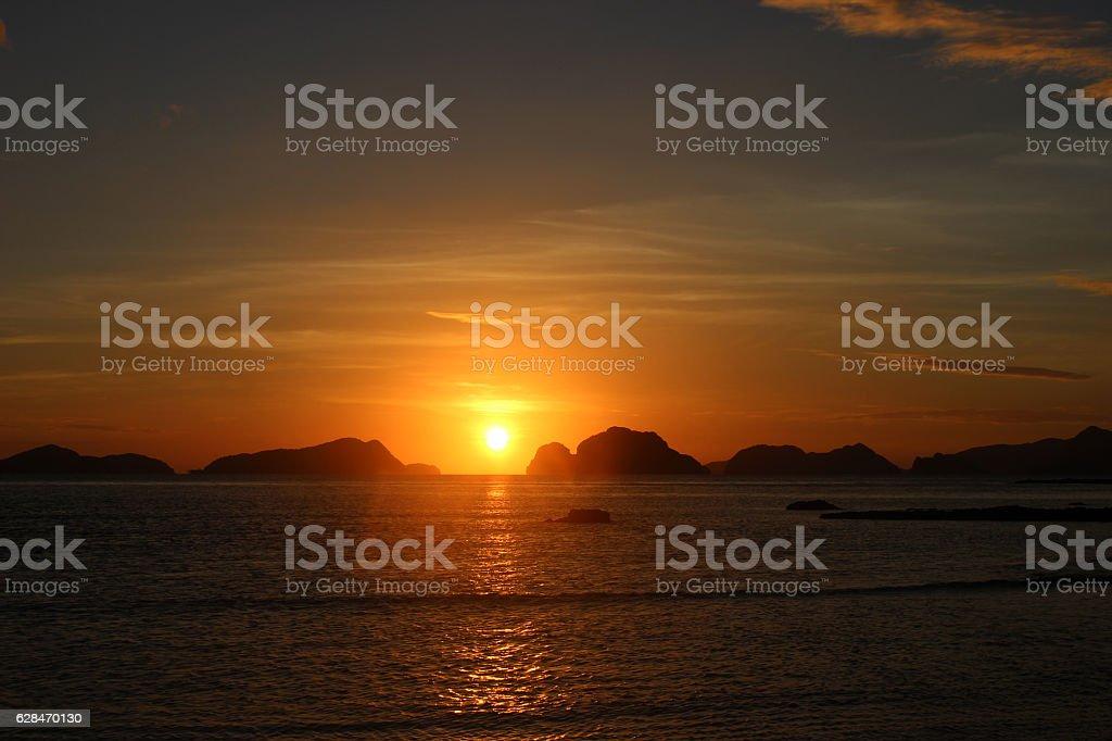 Amazing sunset over the sea. Philippines stock photo