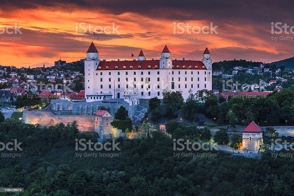 Amazing sunset view of Bratislava, Slovakia stock photo