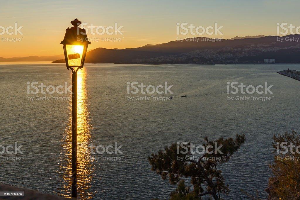 Amazing Sunset view of Kavala, Greece stock photo