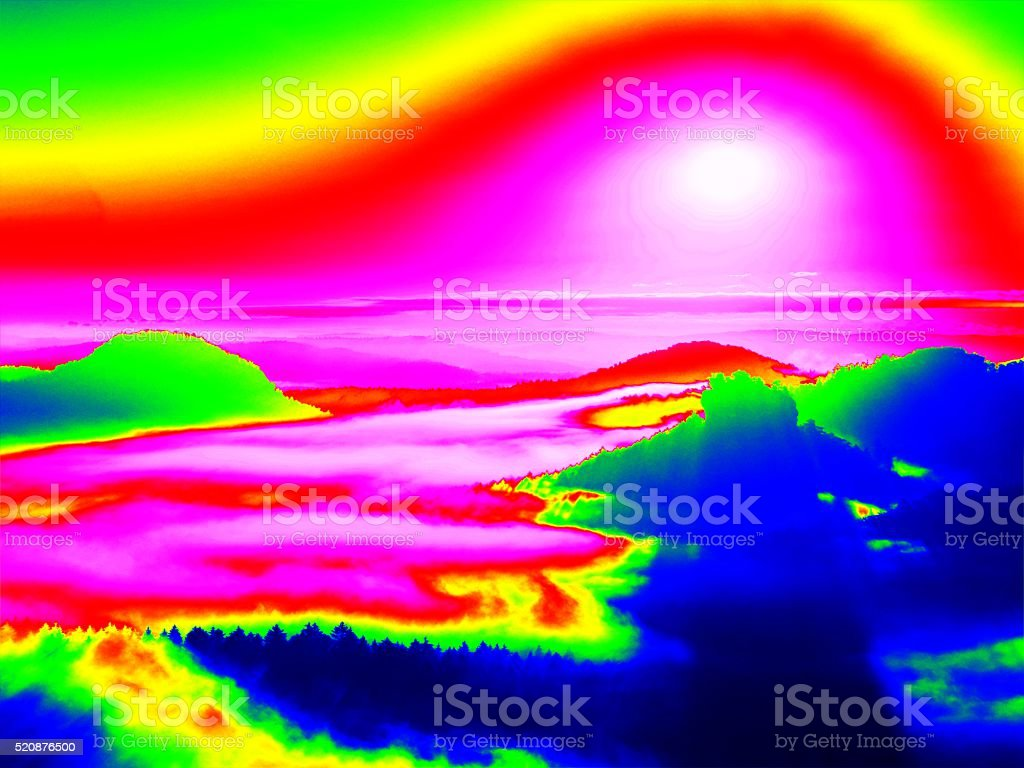 Amazing thermography colors of landscape, pine forest with colorful fog stock photo