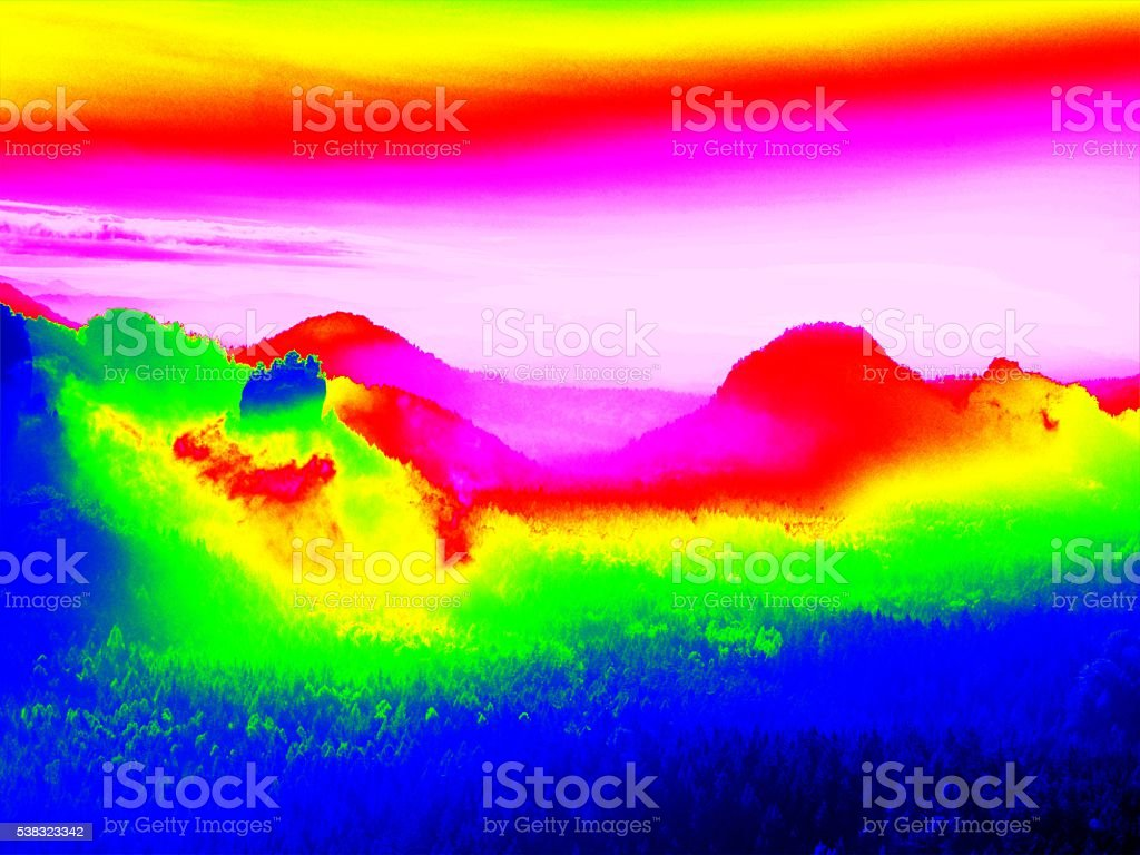 Amazing thermography photo of hilly landscape. Colorful sunset above stock photo