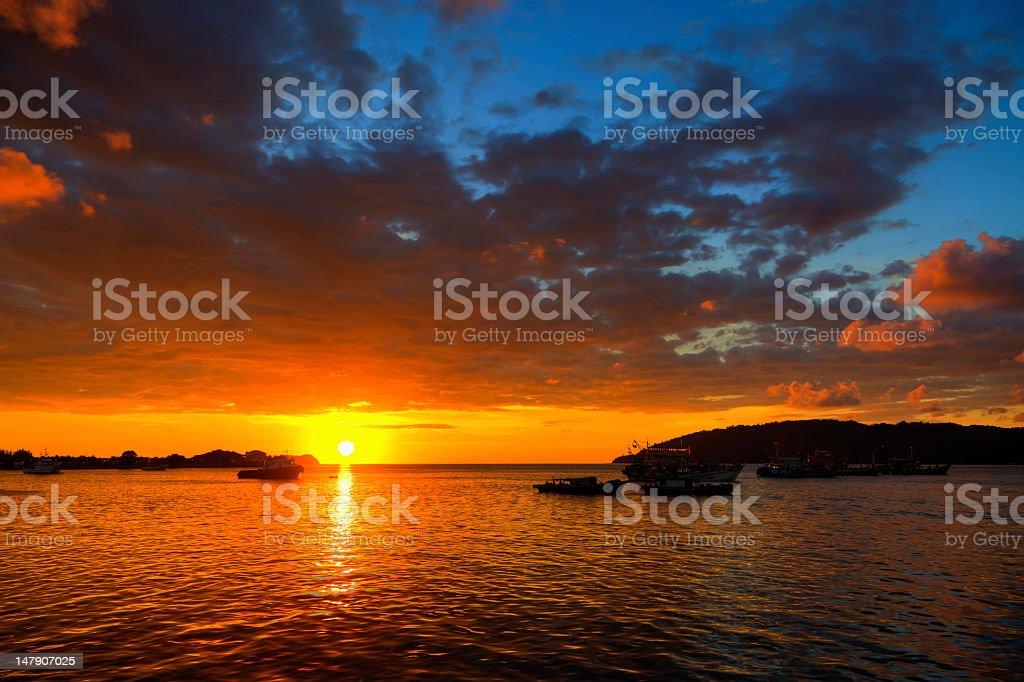 Amazing tropical sunset on Kota Kinabalu bay royalty-free stock photo