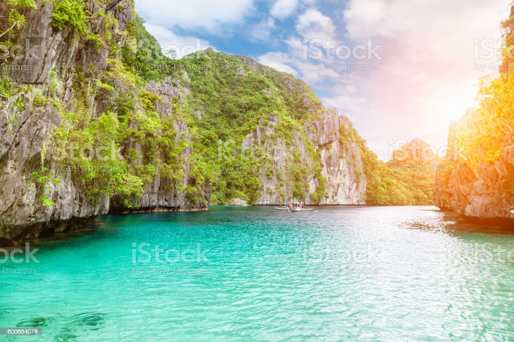 Amazing Turquoise waters in El Nido, Philippines stock photo