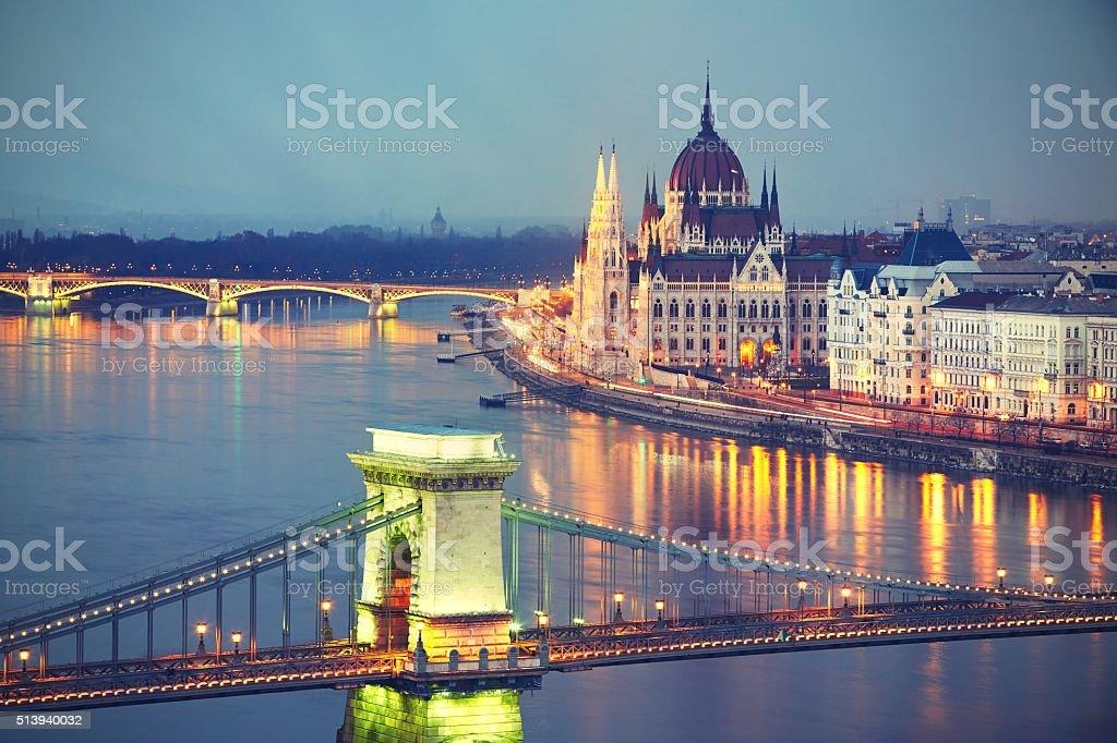 Amazing twilight in Budapest stock photo