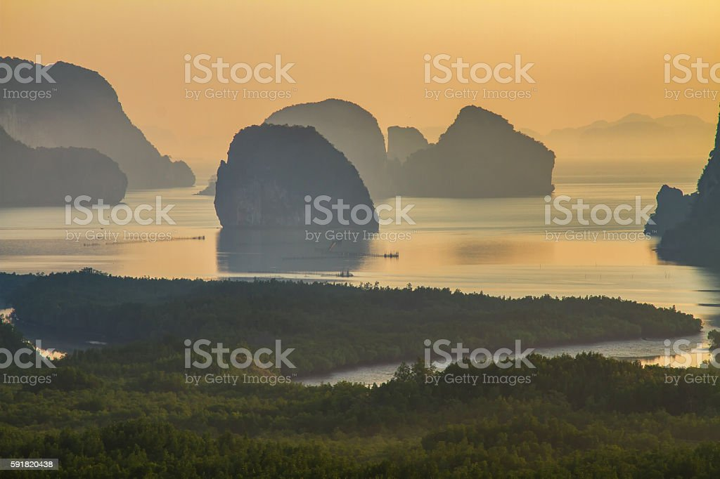 Amazing view and colorful sunrise at Samed Nang Chee, Thailand stock photo