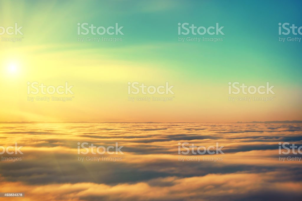 Amazing view from plane on the sky stock photo