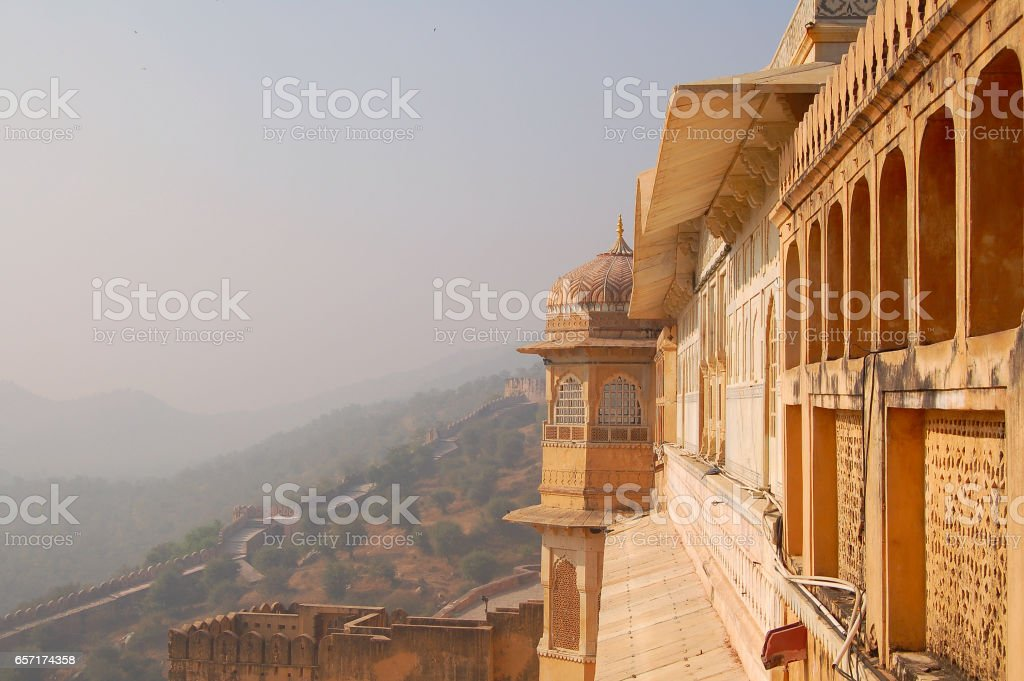 Amazing view from the Amber Fort in Jaipur stock photo