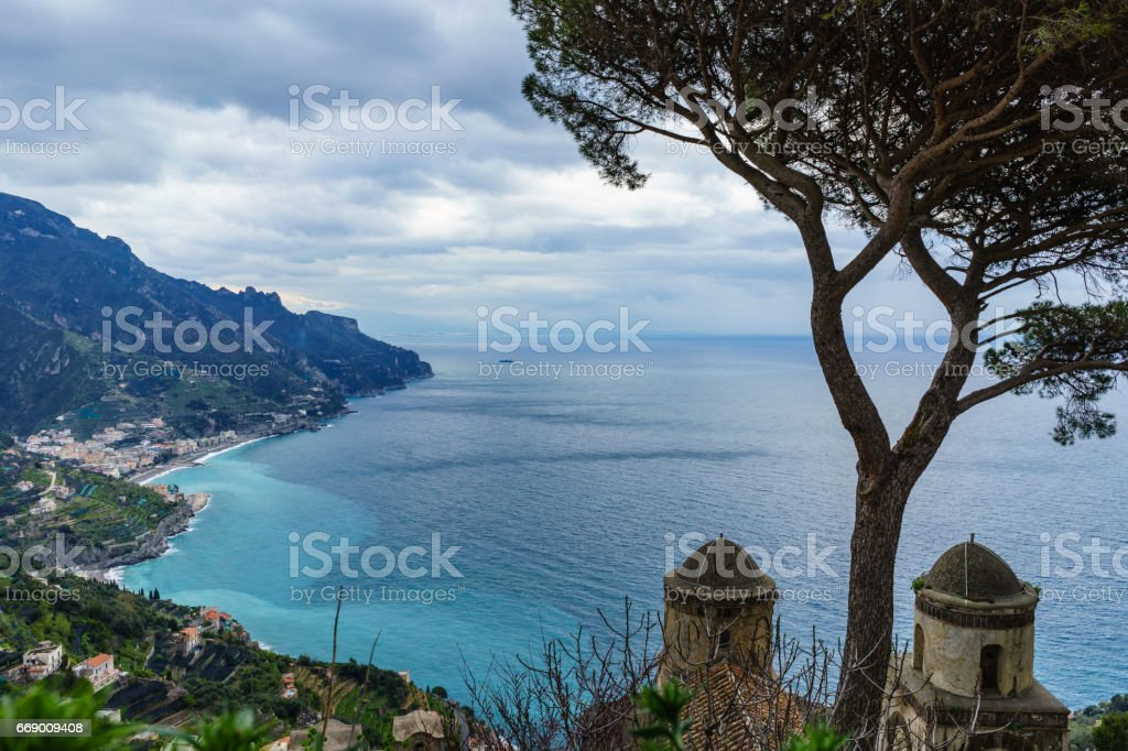 Amazing view from Villa Rufolo, Ravello town, Amalfi coast, in the cloudy day southern, Italy stock photo