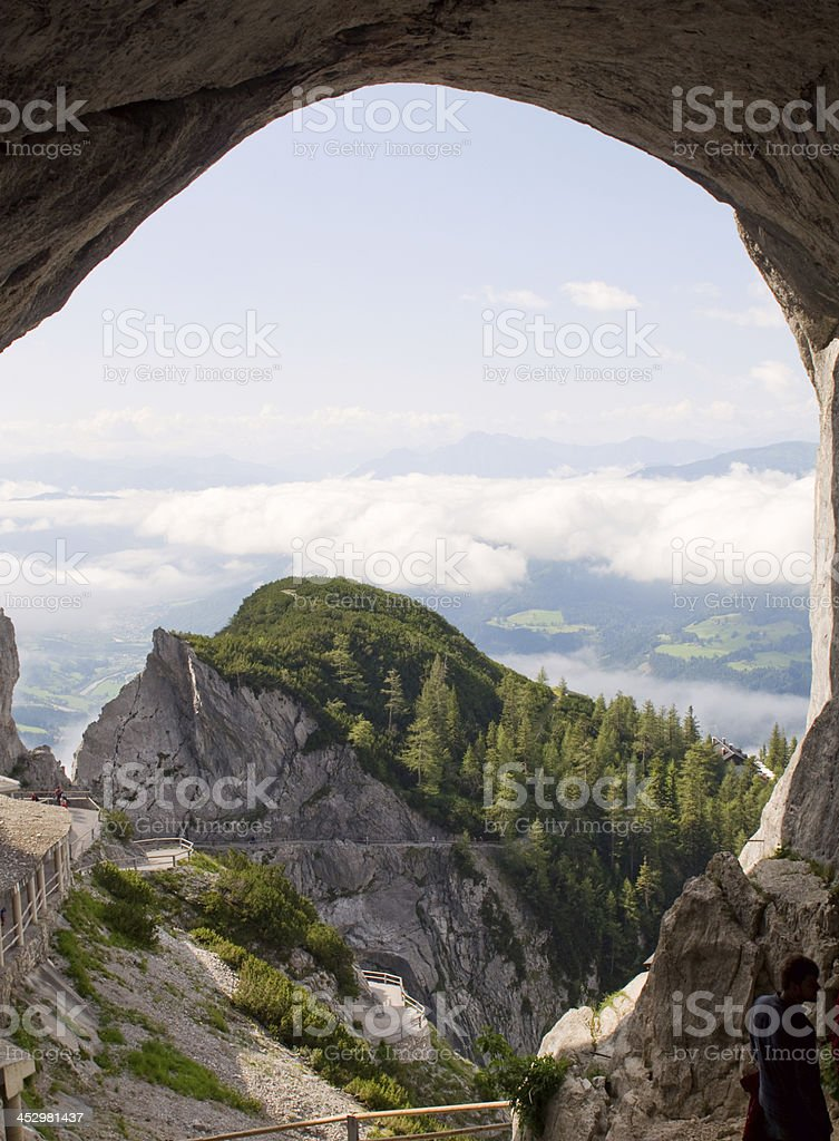 Amazing view from Werfen Ice Cave to Austrian Alps stock photo
