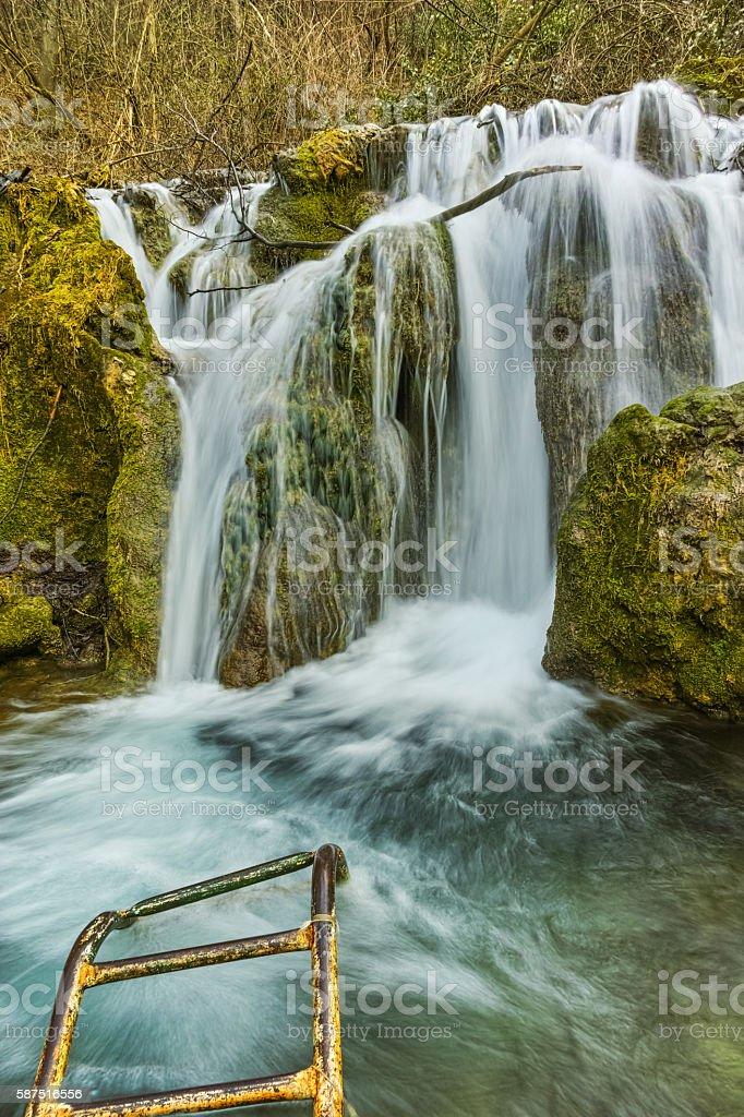 Amazing view of Bachkovo waterfalls cascade in Rhodopes Mountain, Bulgaria stock photo