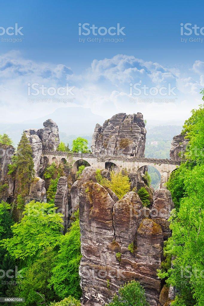 Amazing view of Bastei bridge, Germany stock photo