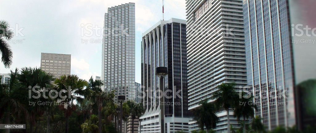 Amazing View Of Biscayne Boulevard Highrise Building In Miami Florida stock photo