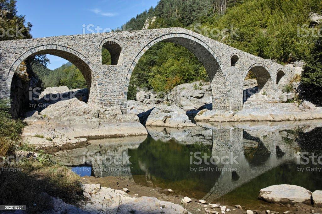 Amazing view of Devil's Bridge,  Rhodopes mountain and Arda river, Bulgaria stock photo