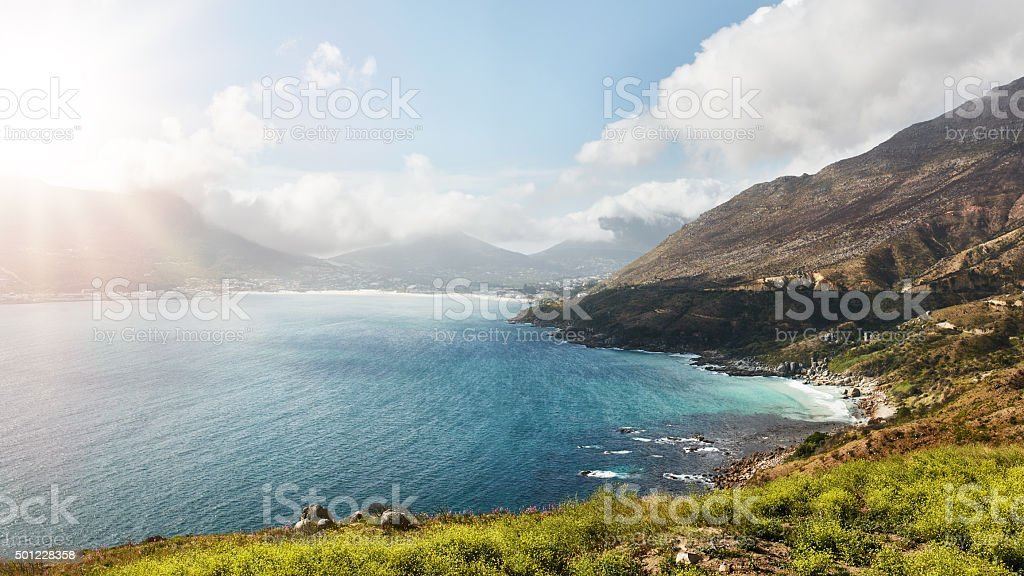 Amazing view of Hout Bay from Chapman's peak stock photo