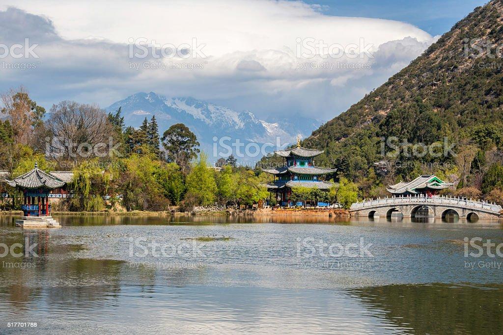 Amazing view of  Jade Dragon Snow Mountain stock photo