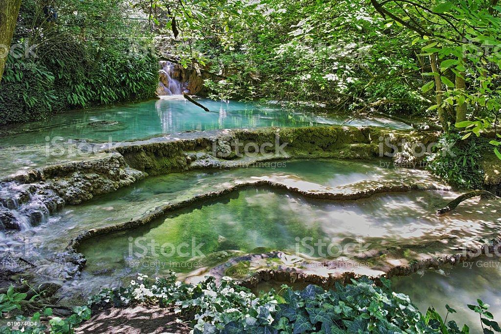 Amazing view of Krushuna Waterfalls, Bulgaria stock photo