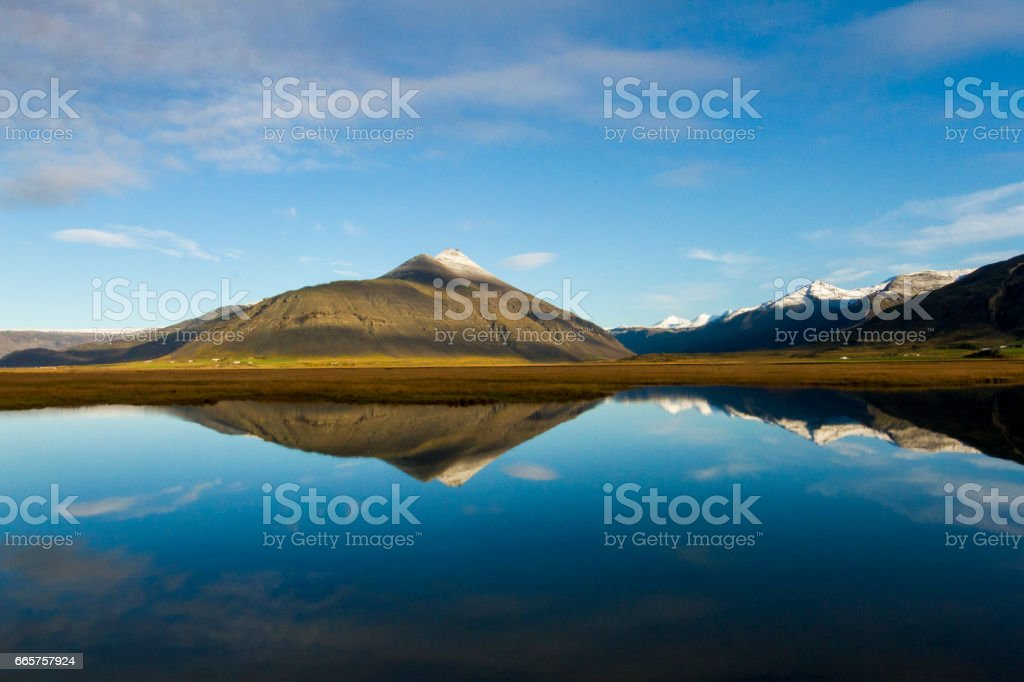 Amazing view of lake and mountains in Iceland stock photo