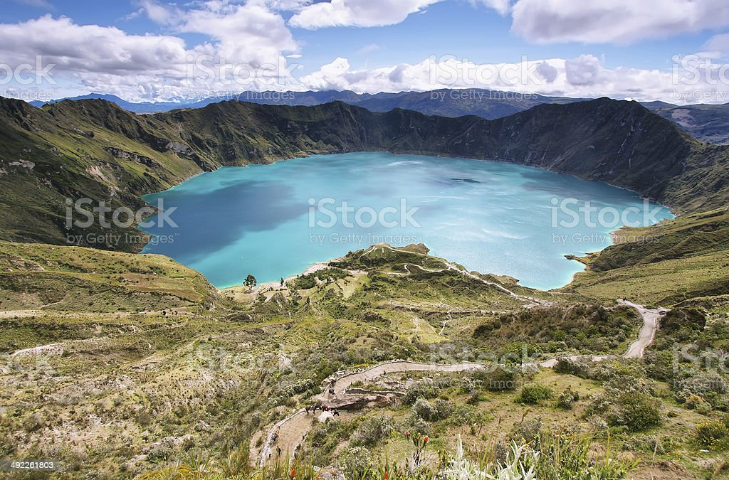 Amazing view of  lake of the Quilotoa caldera stock photo