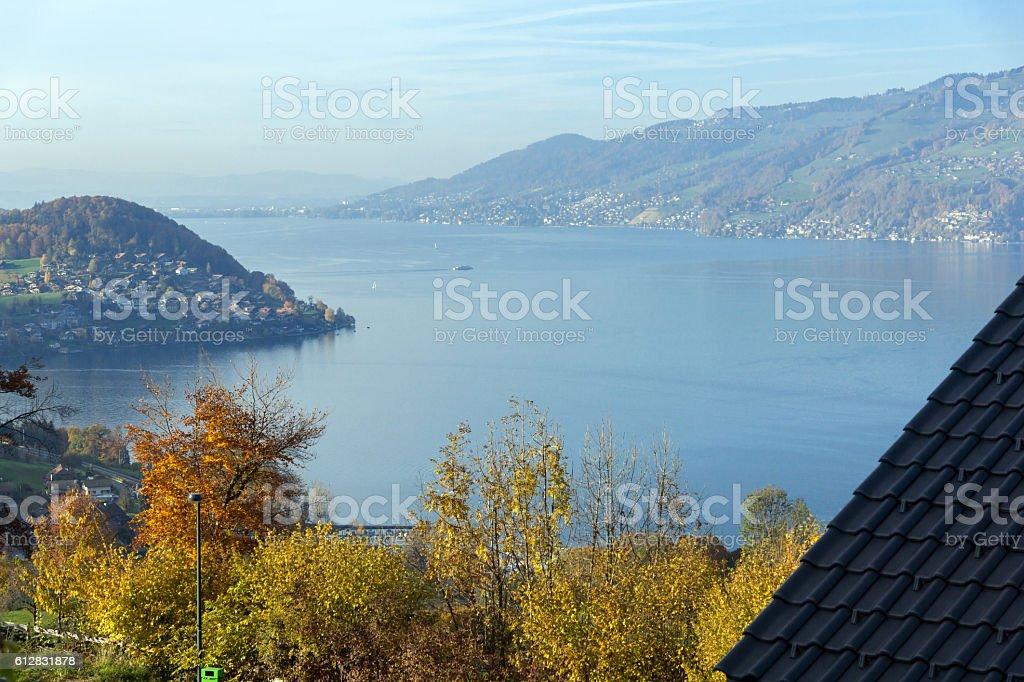 Amazing view of Lake Thun, Switzerland stock photo