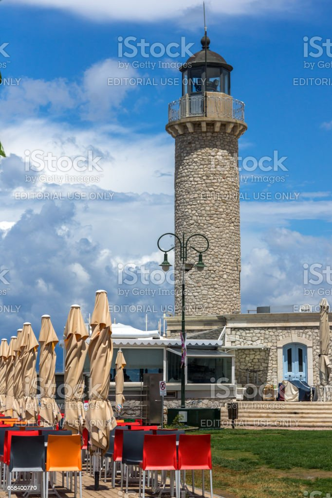 PATRAS, GREECE MAY 28, 2015: Amazing view of Lighthouse in Patras, Western Greece stock photo