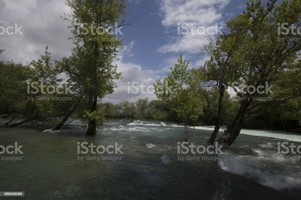 Amazing view of Manavgat waterfall in Turkey stock photo