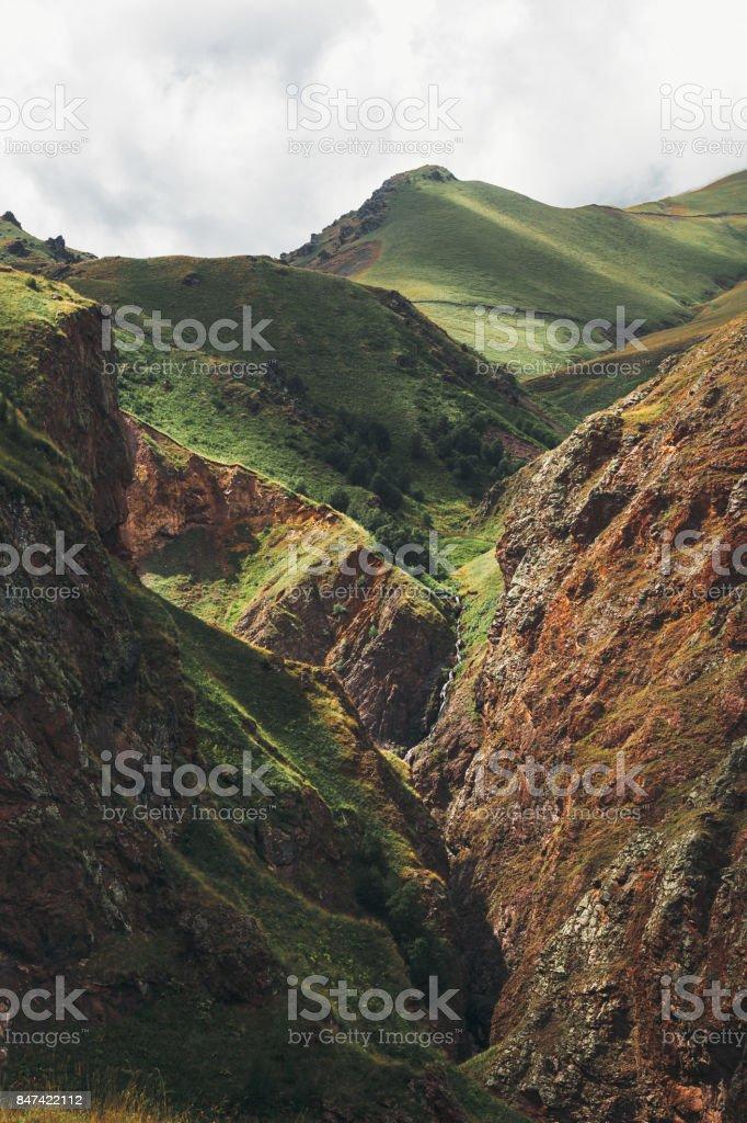 Amazing View Of Mountains In Elbrus Region In Summer. North Caucasus, Russia stock photo